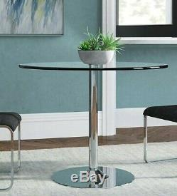 Small Round Glass Dining Table Bar Stand Kitchen Tempered Chrome Base Lamp Plant