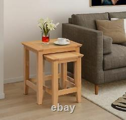 Small Solid Oak Nest Of 2 Coffee Tables Wooden Side/End/Lamp Nesting Set