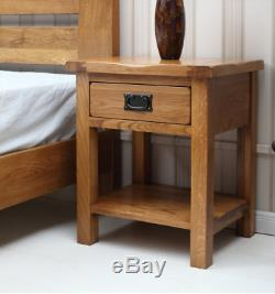 Solid Rustic Oak Side Table Coffee Tea Letter Telephone Lamp Table Drawer New
