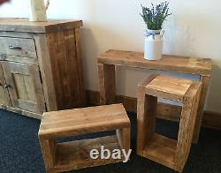 Solid Wooden Rustic Cube Nest Of Tables / Lamp Table / Coffee