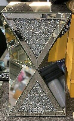 Sparkly Silver Crushed Diamante Crystal Mirrored Pedestal End Lamp Table UK