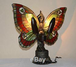 Stained Glass Handcrafted Butterfly Deco Girl Night Light Table Desk Lamp