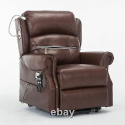 Stanbury leather dual motor riser recliner chair with table USB and lamp SET-UP