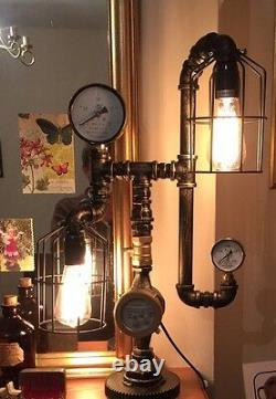 Steampunk Pipe Desk Table Lamp Light with Edison Bulbs