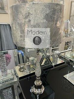 Stunning nickel plated diamanté large table lamp with grey marble effect shade