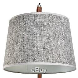 Table/Floor Lamp Grey Linen Shade Swing Swivel Arm Study Bedroom H156cm Bamboo