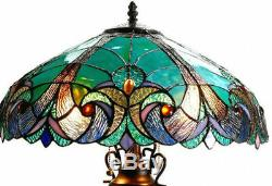 Table Lamp Tiffany Style 4 Light Green Amber Jewel Stained Glass Shade 24.5 H