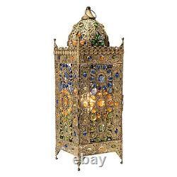 Tall Jeweled Turkish Table Lamp Boho Colorful Moroccan Accent Light Dome Top 24