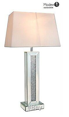 Tall Mirrored And Crushed Diamond Sparkle Table Lamp With White Shade