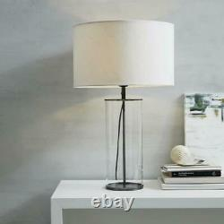 The White Company Pimlico Table Lamp Clear Glass/Black Metal Home RRP £175^