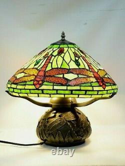 Tiffany Dragonfly With antique bronze dragon Fly Base, Table Lamp