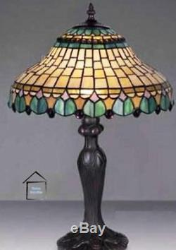 Tiffany Peacock Handcrafted Glass Table Lamp Medium Size 12 Inches Wide Shade