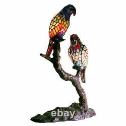 Tiffany Style Accent Stained Glass Table Lamp Exotic Birds Parrots