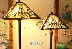 Tiffany Style Amber Floral Table and Floor Lamp Set Handcrafted 16 Shade NEW