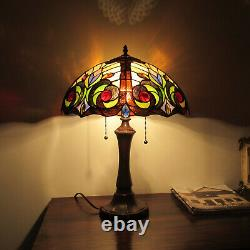 Tiffany Style Dark Bronze Finish Table Lamp with Stained Glass Dome Shade