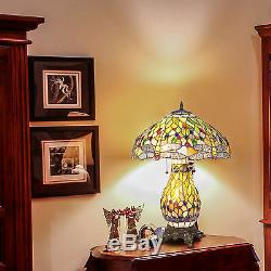 Tiffany Style Dragonfly Green Table Lamp with a night light base 18 Shade