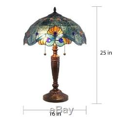 Tiffany Style Handcrafted Blue Vintage Table Lamp 16 Shade Stained Glass