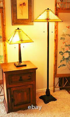 Tiffany Style Mission Table and Floor Lamp Set Handcrafted 16Shade
