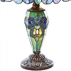 Tiffany Style Multicolored Double-Lit Stained Glass Reading Accent Table Lamp