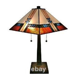 Tiffany Style Square Mission Table Lamp Brown Tan Yellow Stained Glass Shade