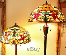 Tiffany Style Stained Glass Floral Table and Floor Lamp Set 2 Light 18 Shade