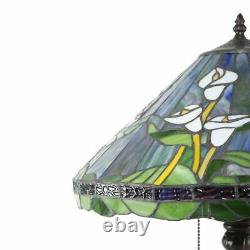 Tiffany Style Stained Glass Lilly Table Lamp Bronze Finish 25in