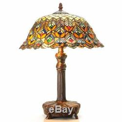 Tiffany Style Stained Glass Peacock Jewel Table Reading Lamp Bronze Finish