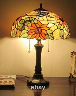 Tiffany Style Stained Glass Table Lamp Floral Sunflower Design Home Decor