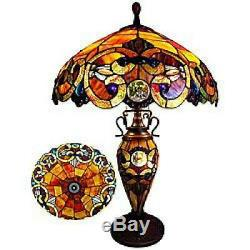 Tiffany Style Stained Glass Victorian Design 2-light Table Reading Accent Lamp