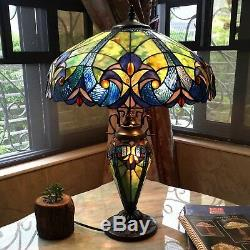 Tiffany Style Table Lamp Blue Red Gold Green Stained Glass Shade Lit Base 26 H