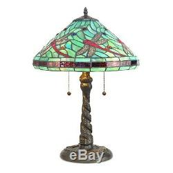 Tiffany Style Table Lamp Stained Glass Red Dragonfly with Dragonfly Metal Base