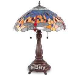 Tiffany Style Table Lamp Stained Glass Vintage Nightstand Desk Office Dragonfly