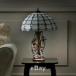 Tiffany Style Table Lamp With Stunning Twin Peacock Tree Design in Antique brass