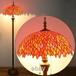 Tiffany Style Torchiere Wisteria Floor Lamp Red Stained Glass 64 High x 16 Dia