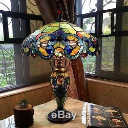 Tiffany Style Traditional Victorian 2 Light Table Lamp Blue Stained Glass Shade