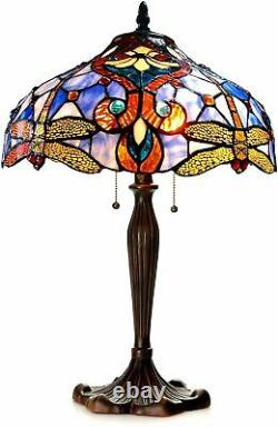 Tiffany Style Victorian 2 Light Table Lamp Gold Dragonfly Blue Stained Glass 24