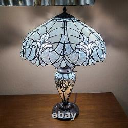 Tiffany Style White Stained Glass Victorian Floral Double Lit Table Lamp