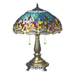 Tiffany Style Yellow Dragonfly Table Stained Glass Accent Lamp