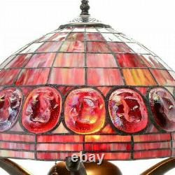 Turtleback Double-Lit Red Tiffany Style Stained Glass Table Reading Accent Lamp