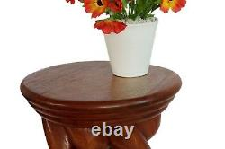Twist side table lamp plant stand hand carved 20x13x13 Ornate Vine Brown