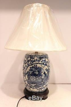 Unique Blue and White Porcelain Drum/GardenStool Blue Willow Table Lamp 21