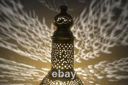 Unique Handcrafted Moroccan Middle Eastern Brass Table Lamp Light