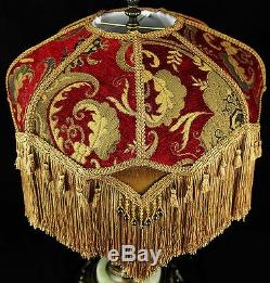 VINTAGE VICTORIAN LAMP SHADE RED GOLD CHENILLE FABRIC With SILK STUNNING SHADE