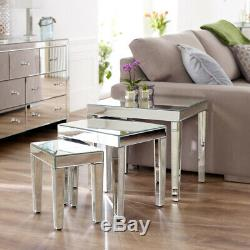 Venetian Mirrored Nest of 3 Tables Occasional Side Coffee Lamp Glass VEN29