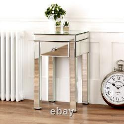 Venetian Mirrored Small 1 Drawer Lamp Table Side Coffee Square Living VEN94
