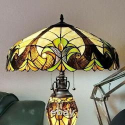 Victorian Theme Tiffany Style Stained Glass Table Reading Accent Lamp Lit Base