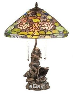 Victorian Trading Co Tiffany Style Stained Glass Mermaid Lagoon Table Lamp