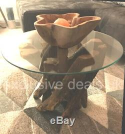 Vintage Round Coffee Table Lamp Phone Stand Living Room Furniture Side Rustic