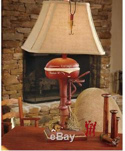Vintage Style Fishing Boat Outboard Motor Table Lamp Nautical Lake Rustic 32H