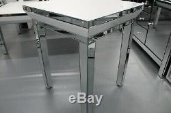 White Glass Mirrored Sidetable / Lamp Table